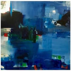 """Rebecca Ruoff, """"holiday"""", Large Blue Abstract Painting, 2017 (£2,510) ❤ liked on Polyvore featuring home, home decor, wall art, blue, paintings, abstract home decor, blue painting, blue home decor, abstract oil painting and abstract wall art"""