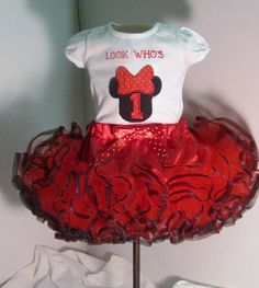 Minie Mouse First Birthday Tutu With matching by CLASSYTHREADSBYCB, $45.00