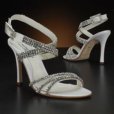 My wedding shoes! Strappy & sparkly!  benjamin adams astor white & ivory  Wedding Shoes