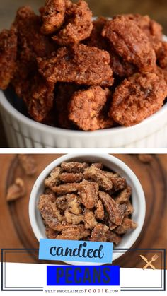 Sweet, crunchy, and delicious! This candied recipe is for nut lovers like you! Homemade Candied Pecans are oven baked brown sugar spiced pecans perfect on salads or sweet potatoes. Indeed, one of the best dessert recipes ever! Save this pin for later! Walnut Recipes, Pecan Recipes, Almond Recipes, Recipes With Pecans, Homemade Candy Recipes, Homemade Candies, Keto Recipes, Candied Pecans Recipe, Spiced Pecans