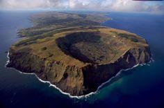The Rano Kau volcano in Rapa Nui National Park, Easter Island, Chile – photographed by Yann Arthus Bertrand.