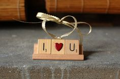 I LOVE YOU Christmas Ornament - Handmade Christmas Tree Ornament made with Scrabble Tiles