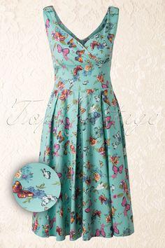 TopVintage exclusive ~ 60s Butterfly Dress in Blue - Retrojurk.nl