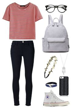 Back to School Outfits Striped Top, Black Jeans and Converse Shoes via