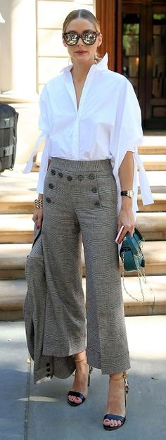 5 Looks to Transition Your Outfit for Spring Temps, glen plaid wide leg pants with white button down shirt and green purse, women's spring fashion  Divine Style