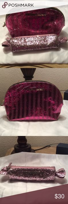 2 Victoria secret makeup bags 2 cute Victoria secret makeup bags especially the one shaped like a little candy wrapper in sequin. The candy one is in perfect condition. The other one the zipper is broken but still functions. Last pic for reference PINK Victoria's Secret Bags Cosmetic Bags & Cases