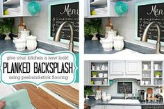 Rental Rehab: 13 Removable DIY Kitchen Backsplashes: How to Create a Faux Plank Wall Kitchen Backsplash
