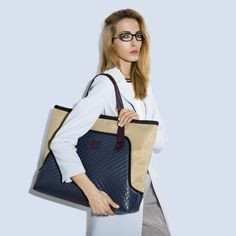 """GOSHICO, photo shoot, ss2015, Flowerbag, (travel bag, shoulder """"XL"""" bag), navy blue + beige. To download high or low resolution photos view Mondrianista.com (editorial use only)."""