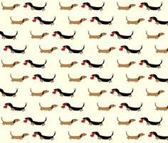 Dachshunds with Heart by Sudachan fabric by sudachan on Spoonflower - custom fabric