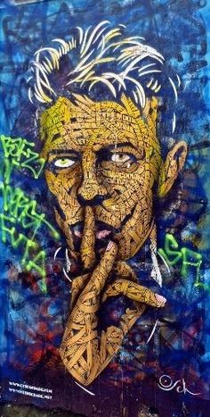 David Bowie Street Art by Otto Schade ~ Graffiti, pop Art Amazing Street Art, 3d Street Art, Street Art Graffiti, Amazing Art, Pop Art, Urbane Kunst, Desenho Tattoo, Public Art, Urban Art