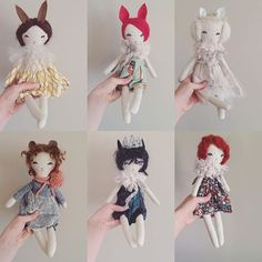 Friday 9pm EST. These are old dolls I've updated a bit and try have either wool roving hair or mohair hair... Because of the hair they are not as ready for play as my other dolls. Best on a shelf or lightly cuddled during story time. I will also have 3 auctions this weekend for a unicorn, a bunny, and the faun boy. Everything else will be surprise listed! ✨✨ ((your sweet comments have me wanting to make a few updated versions soon. Bear and wolf girls will live again!))