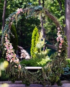 11 More Giant Wedding Wreaths: The Hottest Wedding Trend: Oversized grapevine wreath with pink flowers, eucalyptus and a swing seat Wedding Swing, Boho Wedding, Floral Wedding, Wedding Colors, Rustic Wedding, Wedding Ceremony, Wedding Flowers, Wedding Arches, Wedding Wreaths