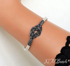 Pure Silver Celtic Love Knot Bracelet in Black and Silver by NMBeadsJewelry