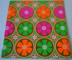 Vintage 1960 Bright Flower Power Wrapping Paper