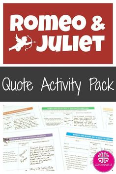 Romeo And Juliet Quotes And Meanings Romeo And Juliet Activity Pack With Quote Analysis & Graffiti .