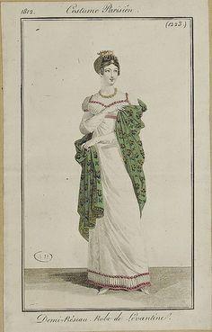 "1812 Costume Parisien. Half ""Réseau"" (half dress?). Dress of heavy twilled silk."