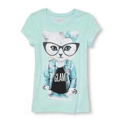 Girls Short Sleeve Glasses 'Glam' Cat Graphic Tee - Blue T-Shirt - The Children's Place Girls Tees, Shirts For Girls, Cool Graphic Tees, Kids Prints, Short Girls, Cute Shirts, Look, Kids Fashion, Girl Outfits