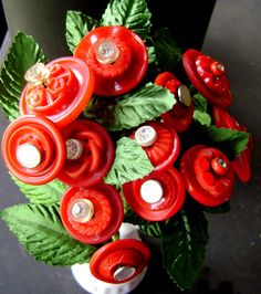 Vintage Button Flower Bouquet in Red with Rhinestones