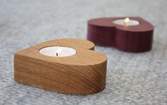 Wooden Heart tea lights