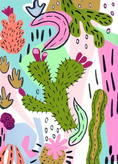 Cactus illustration on Behance Cactus Drawing, Cactus Art, Cactus Flower, Flower Plants, Flower Diy, Cactus Illustration, Floral Illustrations, Cactus Backgrounds, Painted Rock Cactus