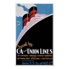 CA Union Ship Lines Vintage Travel Poster