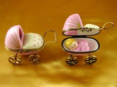 Pink baby carriage Limoges Box