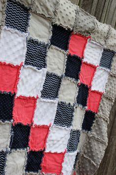 Coral Gray & Navy Rag Quilt/Blanket Girl Nautical by BabyBazerk, $75.00
