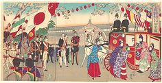 Visit of the Empress to the Third National Industrial Promotional Exhibit at Ueno, Toyohara Chikanobu