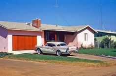 A 1957 Buick, houses in colors not seen anymore, and lots of antennas. A 35mm Kodachrome slide I found somewhere.