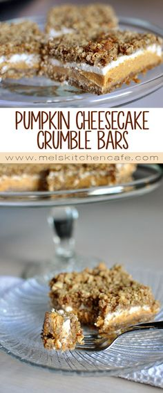 These Pumpkin Cheesecake Crumble Bars are an irresistible fall treat. Easy Cheesecake Recipes, Pumpkin Cheesecake, Dessert Recipes, Pumpkin Recipes, Fall Recipes, Sweet Recipes, Thanksgiving Recipes, Cream Cheese Recipes, Pumpkin Dessert