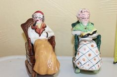 Vintage Norcrest Salt Pepper Shakers Man Pipe Woman Reading Rocking Chair set 10