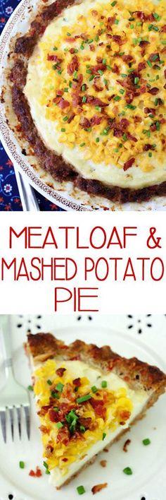 Meatloaf & Mashed Potato Pie #meatloaf #savorypies #groundbeef