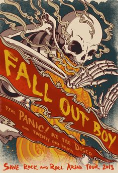 Fall Out Boy 2013 Save Rock and Roll tour with Panic! at the Disco and Twenty One Pilots Rock Posters, Concert Posters, Music Posters, Festival Posters, Fall Out Boy Poster, Fall Out Boy Tickets, Fall Out Boy Wallpaper, Save Rock And Roll, Rock Roll