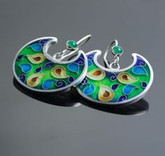 Cuento- cloisonne enamel, green onyx,silver earrings by agoraart on Etsy https://www.etsy.com/listing/214218006/cuento-cloisonne-enamel-green-onyxsilver