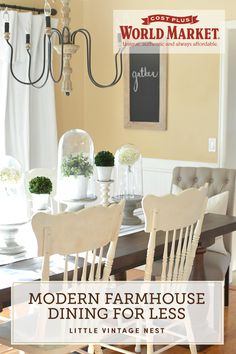 Classic farmhouse style gets a modern, minimalist twist in this dreamy dining room. On her blog, Little Vintage Nest, Sarah's Sandiver's take on an uncluttered space allows each piece to show off charming design details while honoring the clean lines found in farmhouses around the world. The best part? It's all budget-friendly.