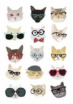 Wallpaper Fashion Cats Papel de Parede Gatos com Óculos