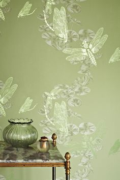 Add a relaxing feel to your room with this unique wallpaper, which evokes hazy summer days by the river. The design features hand painted graphic dragonflies and watercolour lily pads. (Photo: IN-SPACES). Read more on Greenery and find more ways to decorate with green at housebeautiful.co.uk