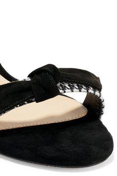 Alexandre Birman - Clarita Suede-trimmed Houndstooth Canvas Sandals - Black - IT40.5