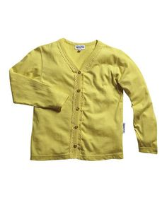Look what I found on #zulily! Yellow Lace-Trim Cardigan - Infant, Toddler & Girls #zulilyfinds