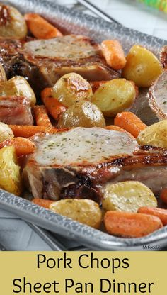 You'll love this sheet pan dinner 'cause it's so easy to make and clean. The whole family will love it 'cause it's so tasty! Our Pork Chop Sheet Pan Dinner is an all-in-one, no-fuss meal that's fit… Pork Chops And Potatoes, Oven Roasted Pork Chops, Pan Fried Pork Chops, Ranch Pork Chops, Seasoned Potatoes, Sauce Pizza, Pork Chop Dinner, Pork Chop Meals, Easy Pork Chop Recipes