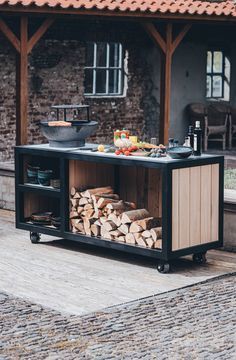 Outdoor Bbq Kitchen, Outdoor Kitchen Design, Outdoor Cooking, Patio Design, Outdoor Living, Outdoor Spaces, Grill Table, Backyard Pavilion, Bbq Cover