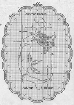 Kira scheme crochet: Tulip motif for tablecloths and curtains Crochet Curtains, Crochet Tablecloth, Crochet Doilies, Cross Stitch Designs, Cross Stitch Patterns, Crochet Patterns, Crochet Home, Irish Crochet, Filet Crochet Charts