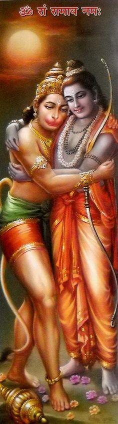 Hanuman and Lord Rama. Mantra is Om Ram Ramaya Namah: Hanuman Pics, Ram Hanuman, Hanuman Images, Mantra, Shri Ram Photo, Hanuman Ji Wallpapers, Lord Rama Images, Lord Sri Rama, Lord Murugan