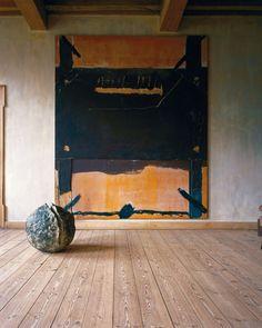 Antoni Tpies's Grand marron trouv, 1972, and Lucio Fontanta's bronze Concetto spaziale, natura