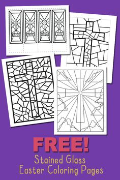 Stained Glass Coloring Pages for Easter - Free Coloring Pages - Free Printables. Cross.