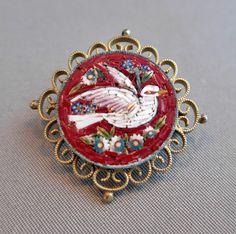 Antique Italian Micro Mosaic Dove Brooch