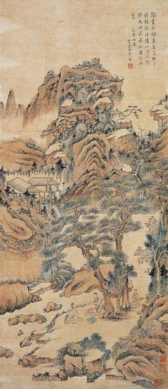 明,  Xiao Yuncong(蕭雲從) ,  松泉煮茗. Xiao was born in Wuhu in Anhui province,at that time part of Taiping Prefecture. His style name was 'Chimu' (尺木) and his pseudonym was 'Wumen Daoren' (无闷道人). Later in life he acquired the pseudonyms 'Zhongshan Laoren' (中山老人) and 'Anhui Wuhuren' (安徽芜湖人). Xiao was known for his landscape paintings such as the Taiping shanshui tuhua (太平山水图画) which used dry and twisting brushstrokes called gui shu pai (姑熟派). He did not follow any previous artist's style.