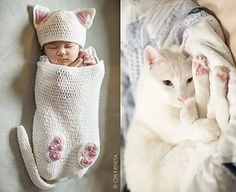 Baby Cat Cocoon Hat & Booties Crochet Pattern by ChiKDesigns Booties Crochet, Diy Tricot Crochet, Chat Crochet, Crochet Cocoon, Crochet Bebe, Crochet For Kids, Baby Booties, Crochet Crafts, Simple Crochet
