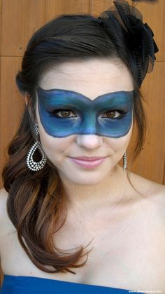 Masquerade Ball Halloween Tutorial.  Make your mask out of makeup!