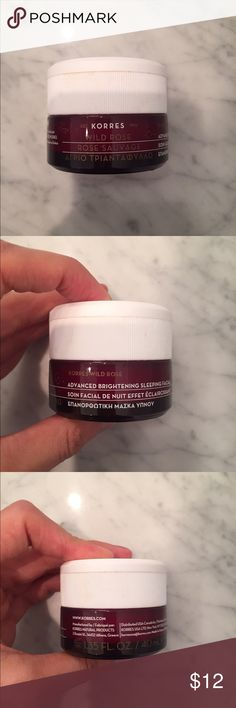 Korres advanced brightening sleep facial Authentic Korres Brightening sleep mask PREOWNED but 50% full $48 Retail. Makes your skin plump and soft in the morning!  Selling because I am going 100% organic with my cosmetics. ❌PRICE IS FIRM, ANY OFFERS MADE WILL BE DECLINED❌🚫NO TRADES🚫 korres Makeup